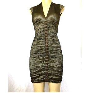 Nicole Miller Metallic Green Ruched Sheath Dress 4